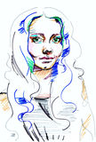 Girl portrait. Illustration woman portrait ,made color markers . on white background Stock Photos