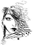 Girl Portrait in Ink. Drawing of a hip girl in black and white Stock Photo