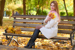 Girl portrait with leaves in autumn city park Royalty Free Stock Photography