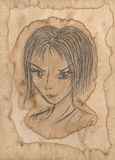 Girl portrait. Loose pencil sketch on stained rough paper Stock Photos