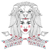Girl portrait with mask of leon`s head, woman with boho tribal a. Girl portrait with lion head mask, leo face, woman with boho tribal arrows. Vector illustration Royalty Free Stock Photography