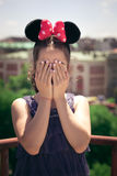Girl portrait with minnie mouse ears. Teen girl portrait with minnie mouse ears outdoor at building terrace summer day royalty free stock photo