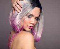 Free Girl Portrait Of Ombre Bob Short Hairstyle. Beautiful Hair Coloring Woman. Trendy Puprle Haircut. Blond Model With Short Shiny Stock Images - 147530014