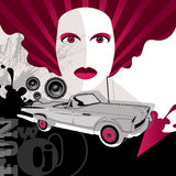 Girl portrait with old car. Vector illustration Royalty Free Stock Photography