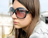 Girl portrait, Padua in sunglasses Stock Photo