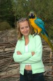 Girl portrait with parrot. Girl portrait at the beach Stock Images