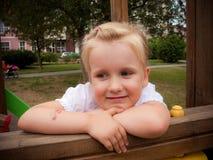 Girl portrait in playground stock photos