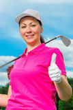 Girl portrait satisfied game of golf Stock Image