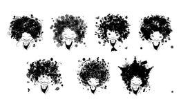 Girl portrait, set of black silhouette for your design Stock Photo