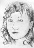 Girl portrait sketch Stock Image