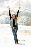 Girl portrait on a snow. From altai Royalty Free Stock Photography