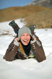 Girl portrait on a snow. From altai Royalty Free Stock Photo