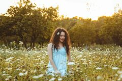 Girl portrait in sunny weather royalty free stock photo