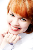 Girl portrait on white. Girl portrait stock photography