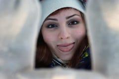 Girl portrait winter hand hide Stock Photos