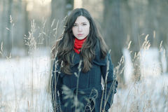 Girl portrait at winter nature Stock Photos