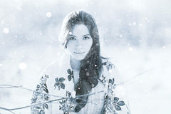 Girl portrait at winter nature Royalty Free Stock Photos