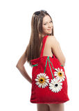 Girl Portrait With Red Beach Bag Isolated Royalty Free Stock Photos