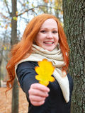Girl portrait with yellow leaf in hand in autumn forest, stand near big tree Stock Image