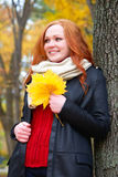 Girl portrait with yellow leaf in hand in autumn forest, stand near big tree Royalty Free Stock Photo