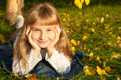 Girl portret in autumn Stock Photos