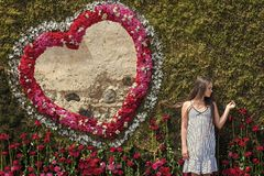 Girl pose at floral heart on green wall. Girl at rose flower frame on sunny day outdoor stock photography