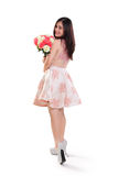 Girl pose with flower bouquet full body isolated Stock Photos