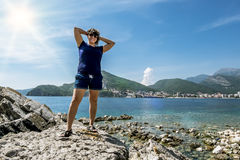 Girl posing on a background seascape Budva Royalty Free Stock Images
