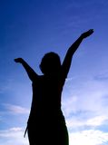 Girl posing on background sky Royalty Free Stock Photo