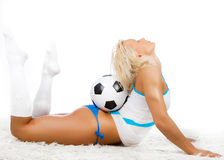 Girl posing with ball Royalty Free Stock Photography