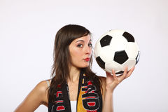 Girl Posing With The Ball In Her Hand Stock Photo