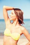 Girl posing on the beach Stock Image