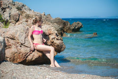 Girl Posing at Beach Stock Images