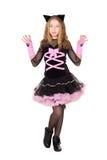 Girl posing in black catsuit Royalty Free Stock Image
