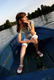 Girl posing on a boat Royalty Free Stock Photo