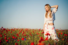 Girl posing in field of poppies Stock Photos