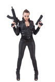 Girl posing with a guns Stock Images