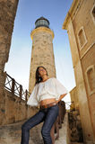 Girl posing in Havana lighthouse Stock Image