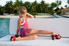 Girl posing in high heels. Royalty Free Stock Images