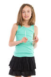 Girl posing and holding glasses Stock Images