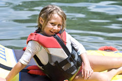 Girl Posing in Life Vest Stock Photography