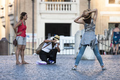 Girl posing like a model in Vatican City Stock Photography