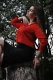 Beautiful woman in red shirt and black skirt is sitting profile in a sexual pose on the tree stump in the park Stock Images