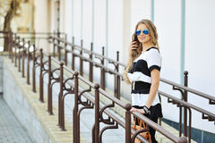 girl posing in an old town Royalty Free Stock Image