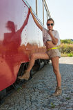 Girl Posing by Old Tram Stock Image
