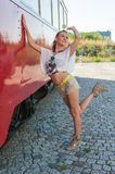 Girl Posing by Old Tram Royalty Free Stock Images