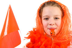Girl is posing in orange outfit Stock Images