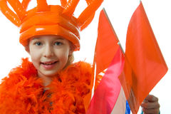 Girl is posing in orange outfit Royalty Free Stock Photo
