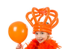 Girl is posing in orange outfit Royalty Free Stock Image
