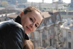 Girl posing over the city Stock Photo